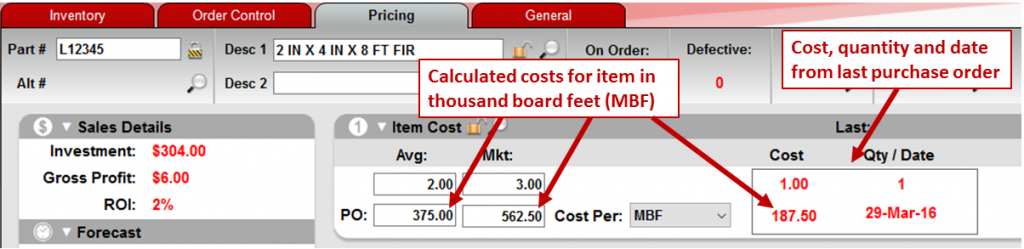 View item costs in MBF