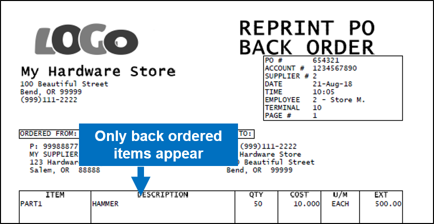 Reprint PO with only backordered items