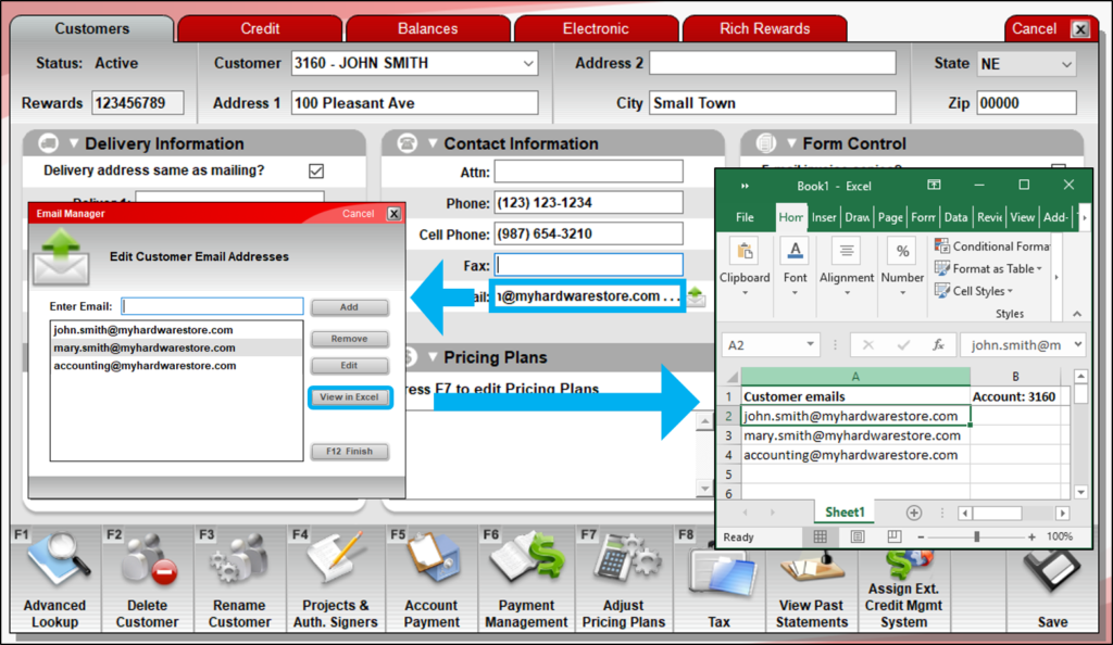 View a customer's emails in excel