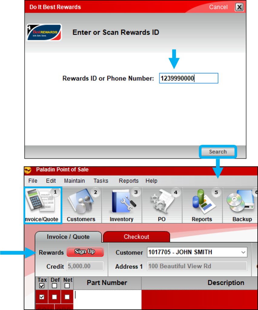 Customer found without rewards ID, Click Sign Up