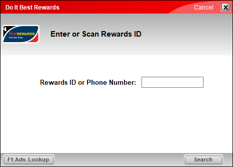 Best Rewards ID search window
